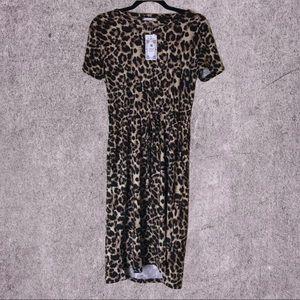 Midi Dress with Elastic Waist and Side Pockets